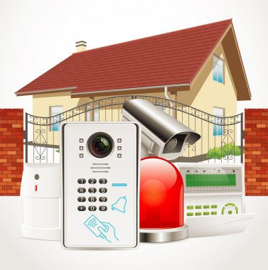 Home access control system - Video door phone, alarm system, motion sensor, cctv camera