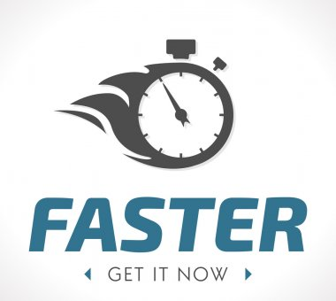 Faster logo with clock vector illustration stock vector