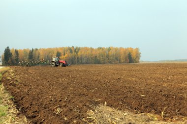 plowed field  by a tractor