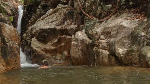 guy swimming in river pool