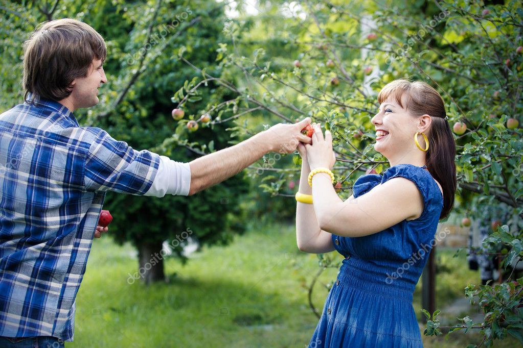 young couple in garden