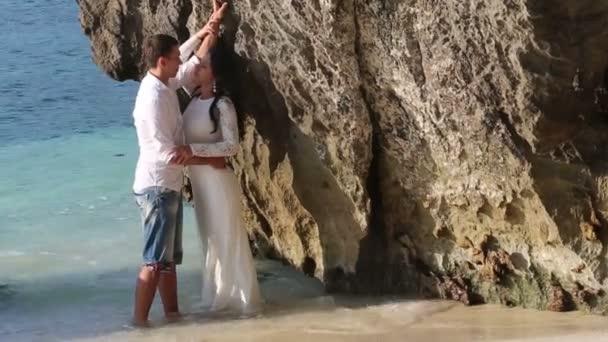 Happy romantic groom and bride