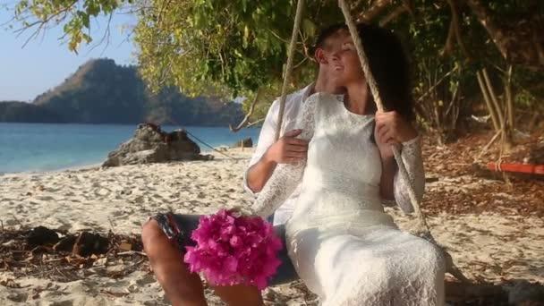 bride and groom  on tropical island