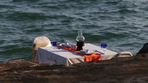 Restaurant table over sea water