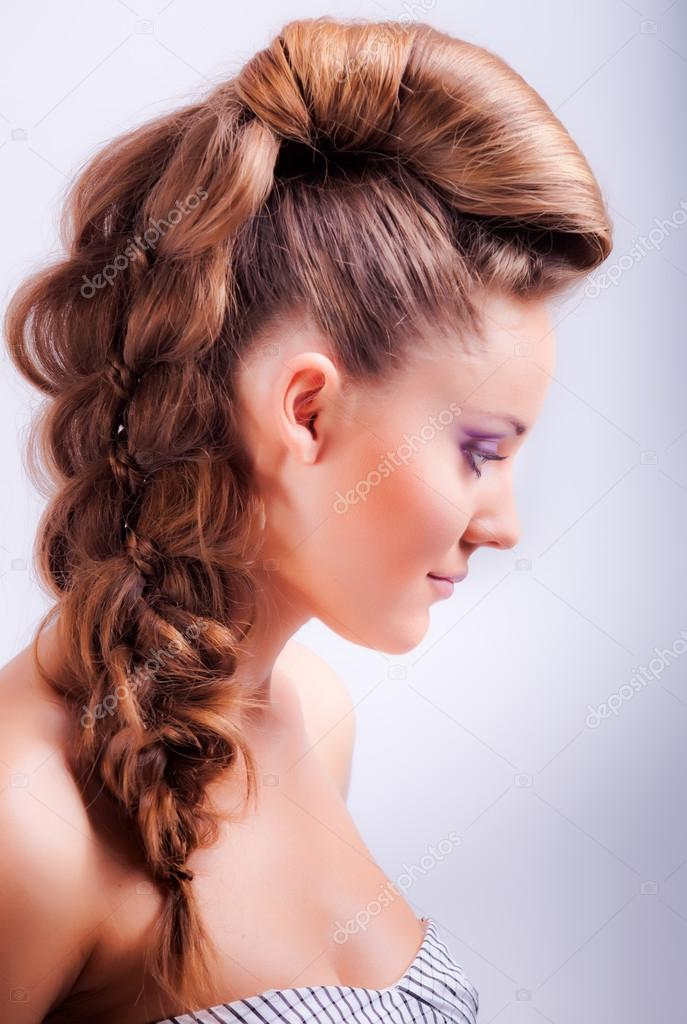 Portrait Sideview Of Blonde Girl In Elegant Whimsical Coiffure