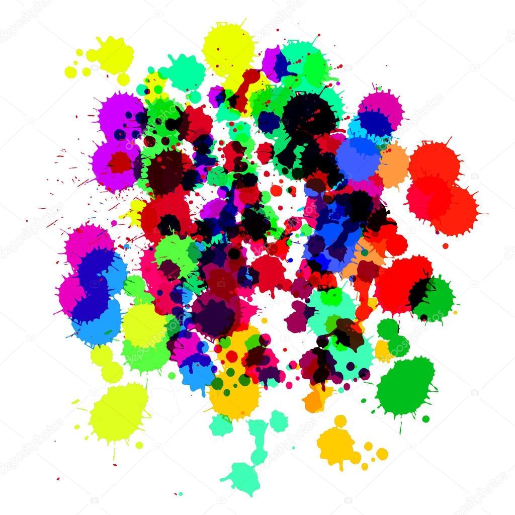 multi color translucent splash on white background vector
