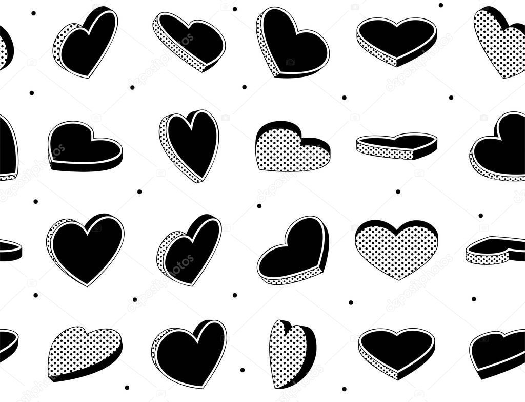 Hearts symbol seamless pattern. Geometric seamless pattern can be used for textiles. Vintage heart design template. icon