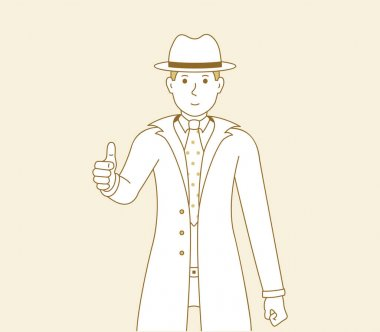Man shows thumbs up, vector illustration of a guy in a good mood showing a gesture of approval or okay. Men detective cartoon art icon