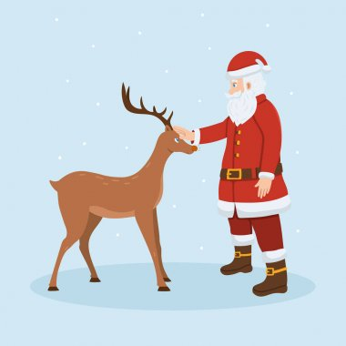 Santa Claus and reindeer. Merry Christmas and happy new year vector illustration. icon