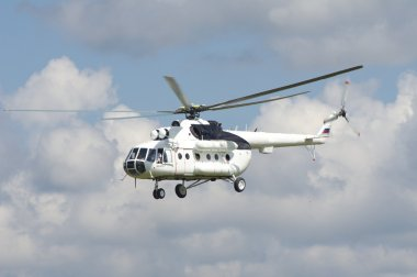 The russian helicopter in the sky