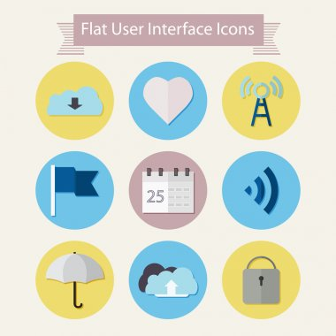 Flat modern icons for user interface 1