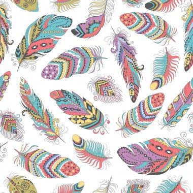 Feathers Boho Seamless Pattern.