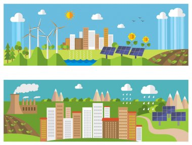 Set of environment and ecology banners. Green energy and pollution.