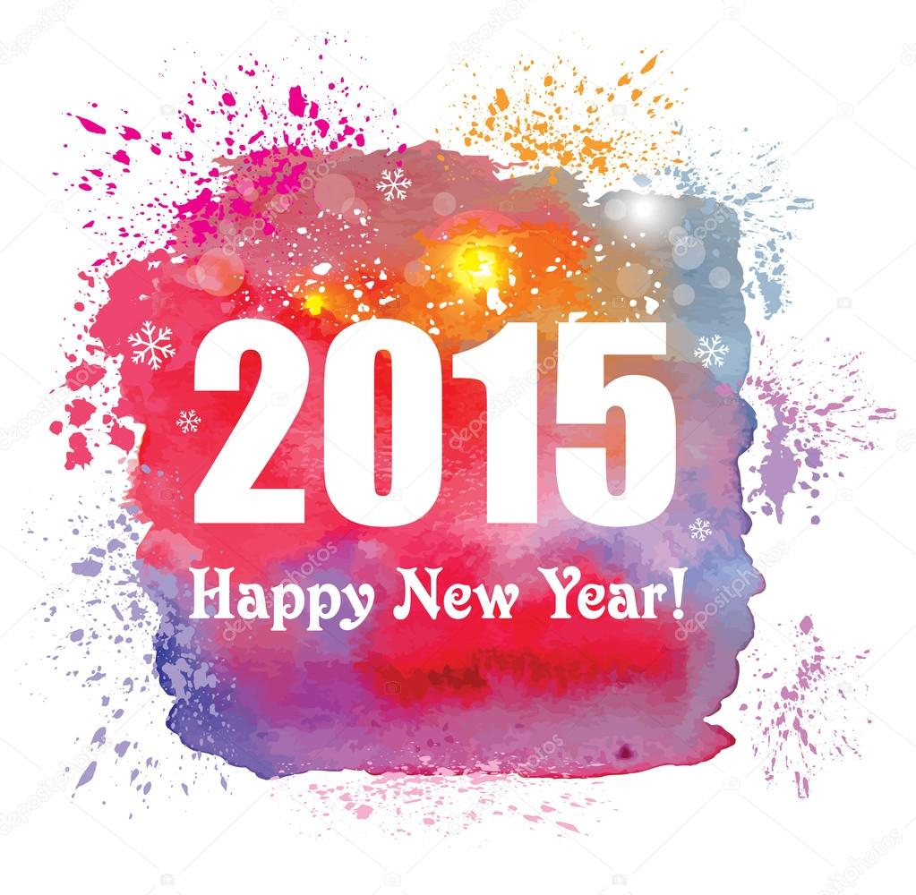 Happy new year 2015 creative greeting card with watercolor effect happy new year 2015 creative greeting card with watercolor effect stock vector m4hsunfo