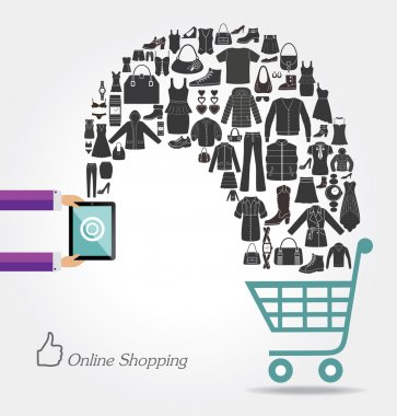 Modern technology and online shopping. Fashion background.