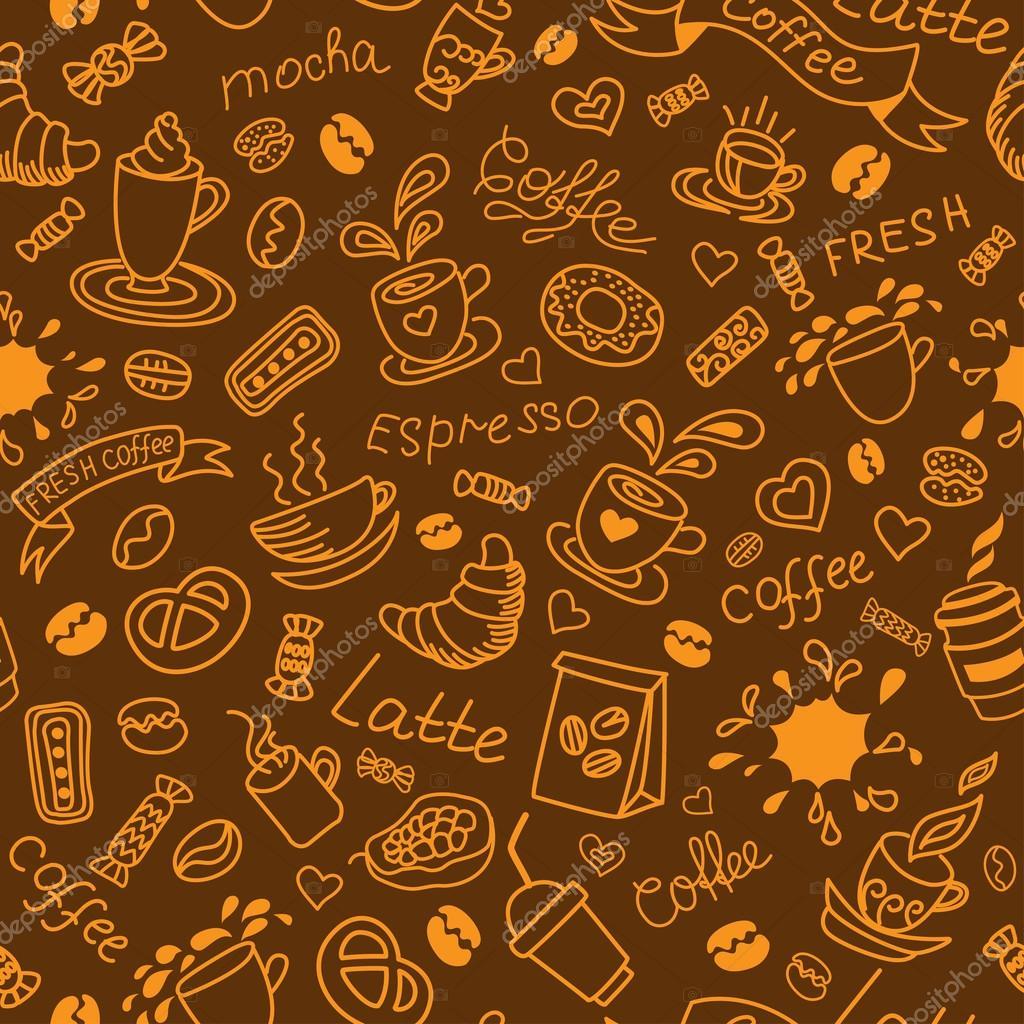 Fondo De Café Perfecta. Productos De Panadería. Patrón