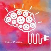 Pozitivní myšlení. Podnikatelský koncept. Vektorové akvarel zázemí