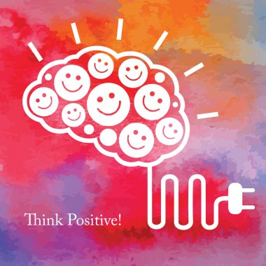 Positive thinking. Business concept. Vector watercolor background. stock vector