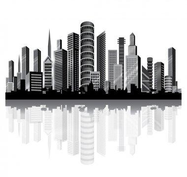 Urban vector architecture. Metropolis on the river.