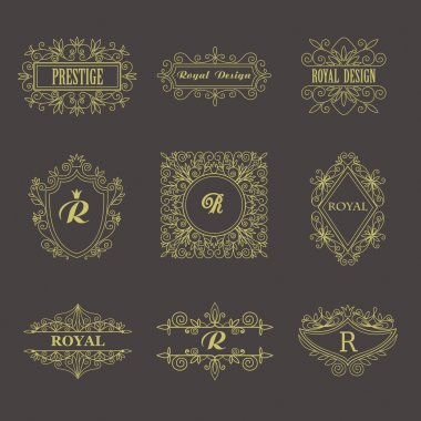Vintage Floral Frames for your Logo, Invitation, Monogram, Wedding Background, Business Sign, Royalty Design.