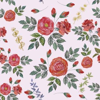 """Картина, постер, плакат, фотообои """"Seamless Watercolor Pattern with Red Roses. Vector Fabric Background."""", артикул 73750411"""