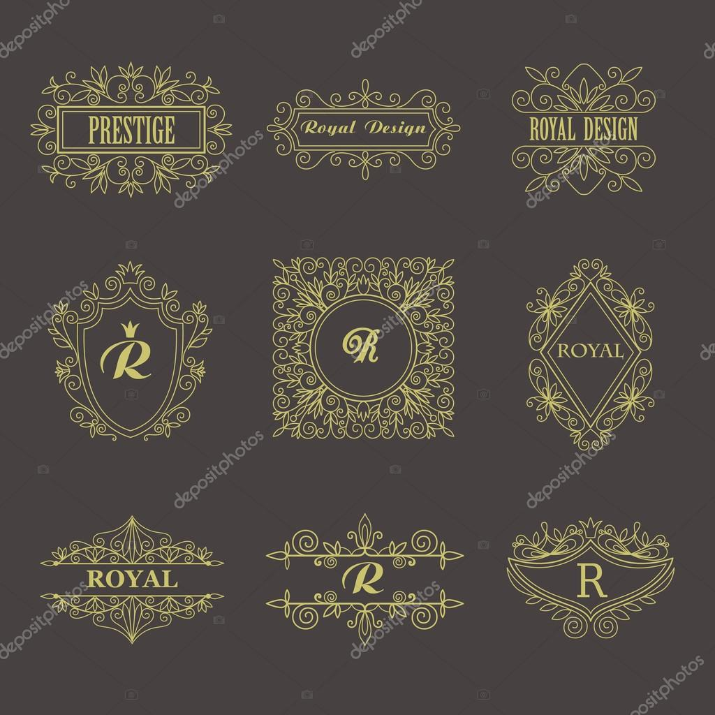 Vintage Floral Frames Für Ihr Logo, Einladung, Monogramm, Hochzeit  Hintergrund, Business Zeichen