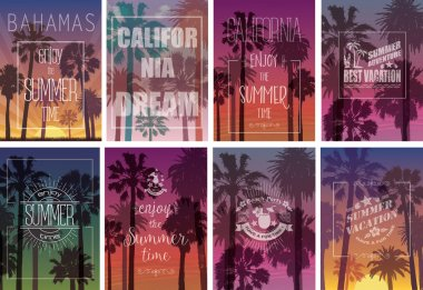 Set of Exotic Print with Palms for T-shirt. Summer Travel Backgrounds .