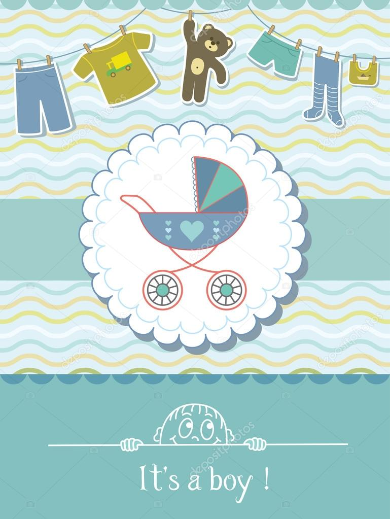 Baby Boy Shower Invitation Card Child Background With A