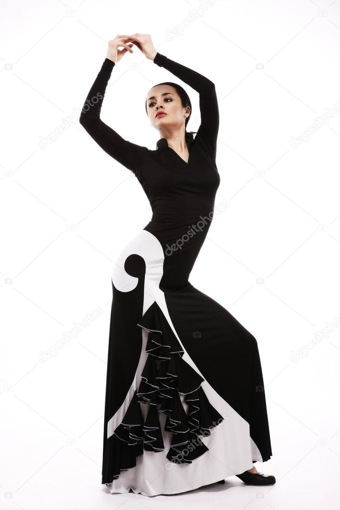 Young woman performing salsa dance with passion, isolated on whi