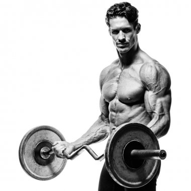 Closeup portrait of a muscular man workout with barbell at gym.