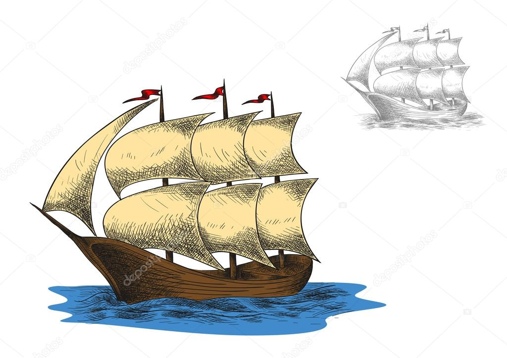 Antiguo velero de tres palos — Archivo Imágenes Vectoriales ...