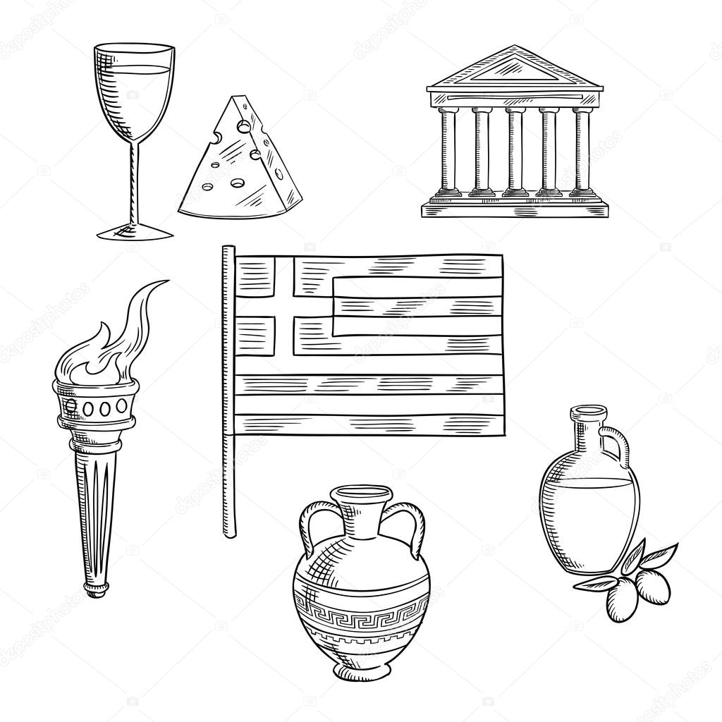 Traditional Greece Symbols And Culture Objects Stock Vector