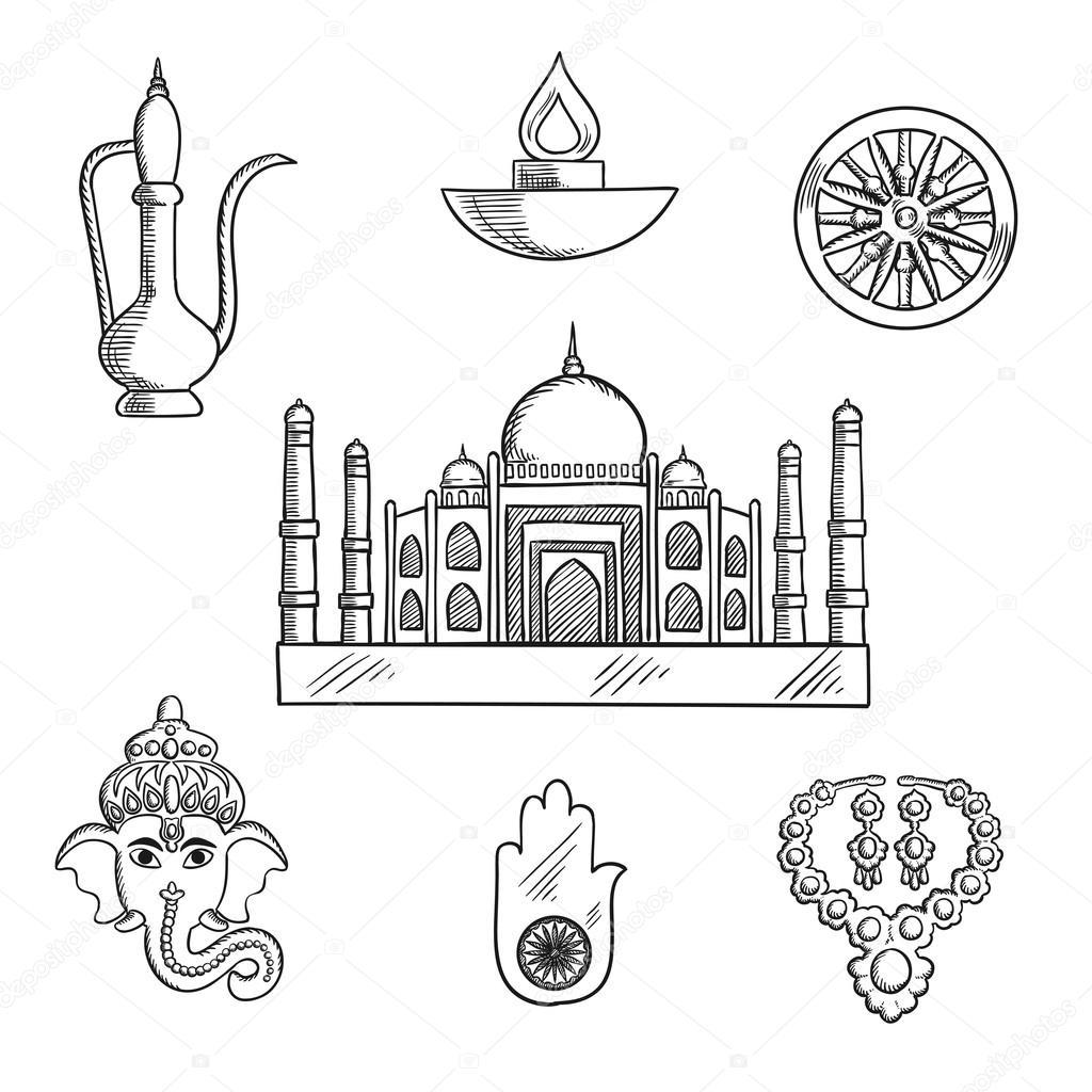 Indian Religion And Culture Symbols Stock Vector Seamartini