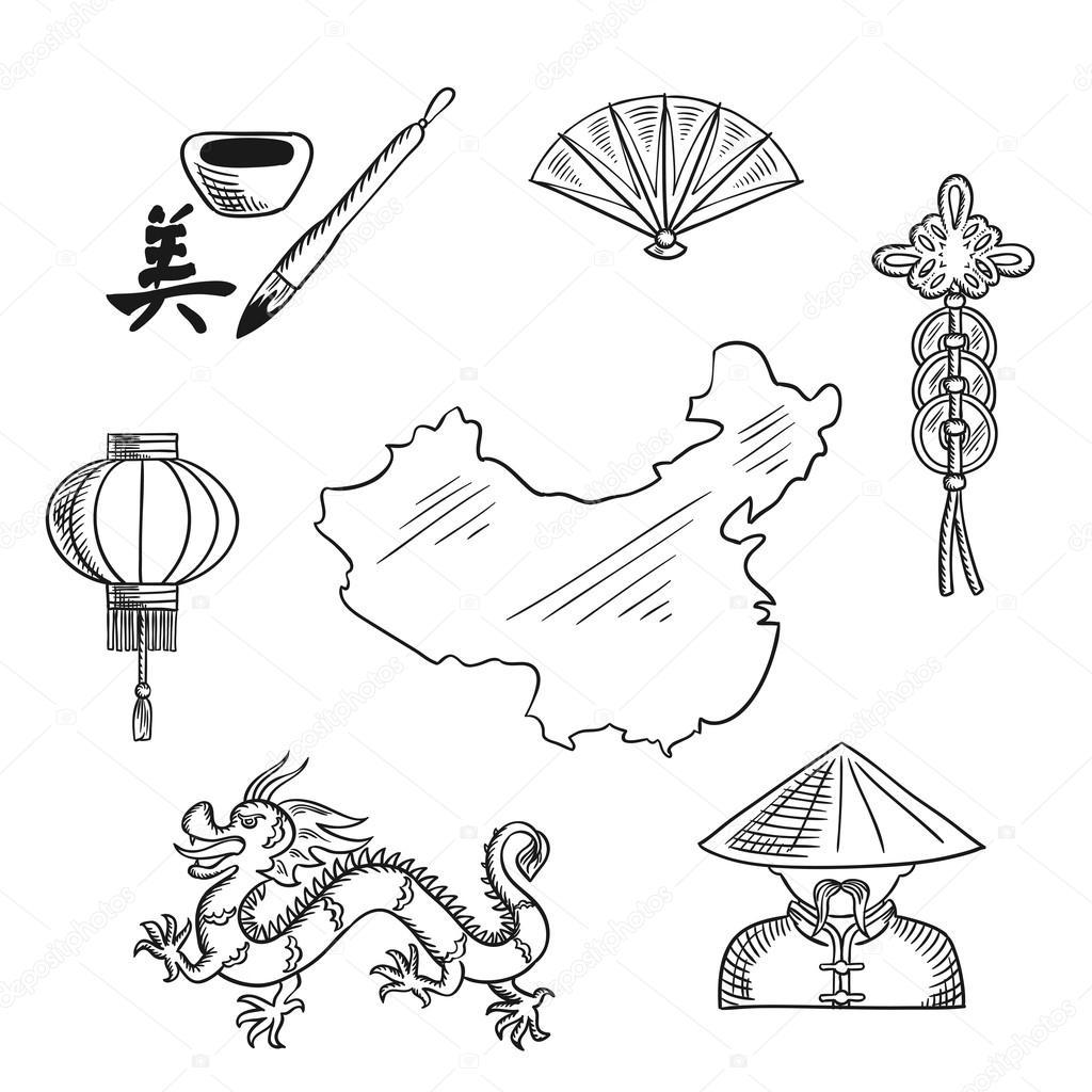 Chinese national symbols around a map stock vector seamartini chinese national symbols with dragon and mandarin or chinaman lantern and calligraphy fan and wealth symbol around a map of china vector by seamartini buycottarizona Images