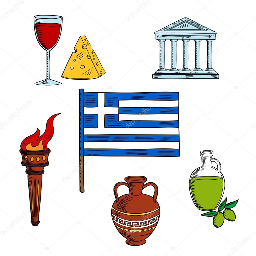 Symbols of greece for travel design stock vector seamartini traditional symbols of greece with national flag encircled by ancient flaming torch ceramic amphora and parthenon temple olive oil wine and cheese biocorpaavc