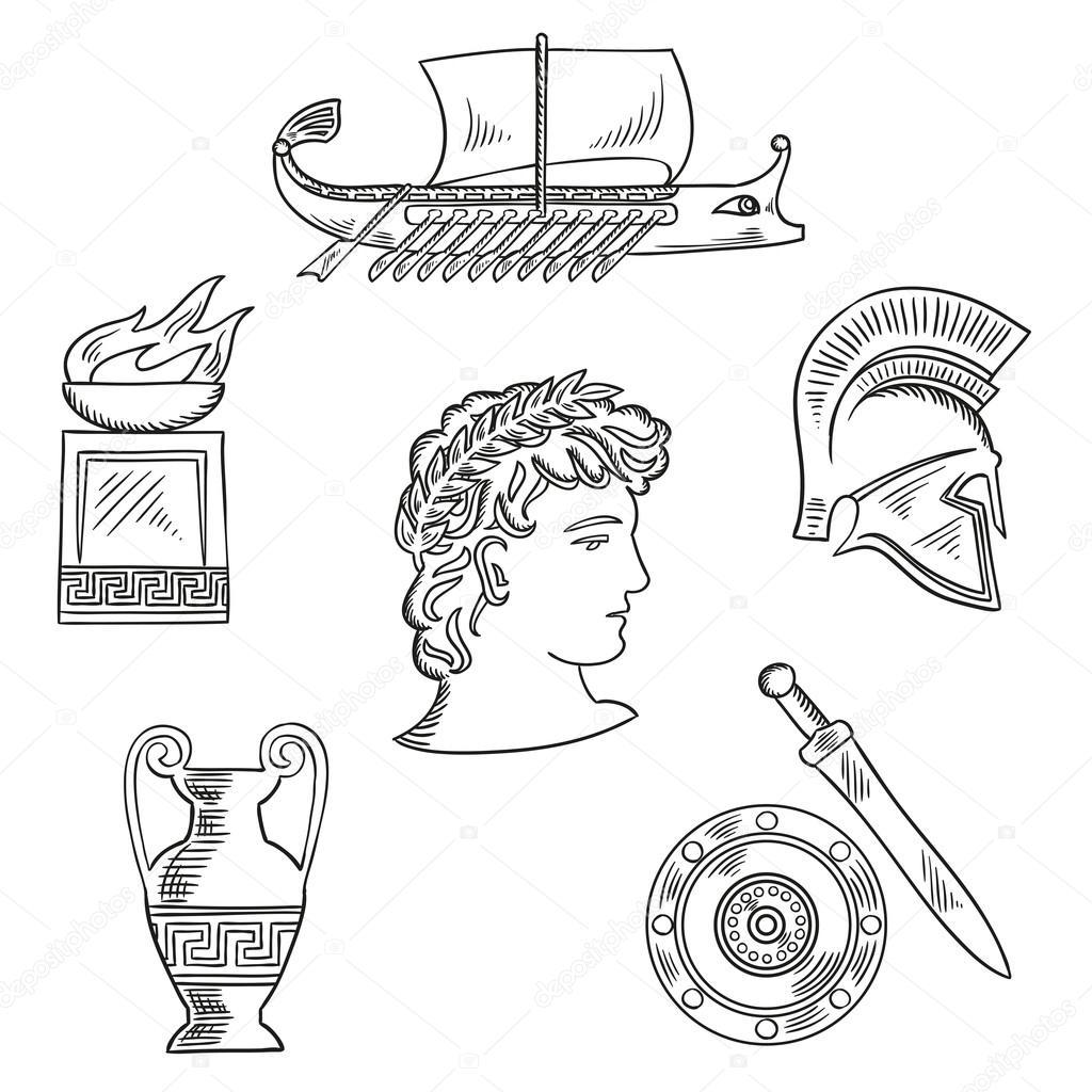 Culture Symbols Of Ancient Greece Stock Vector Seamartini 103513904