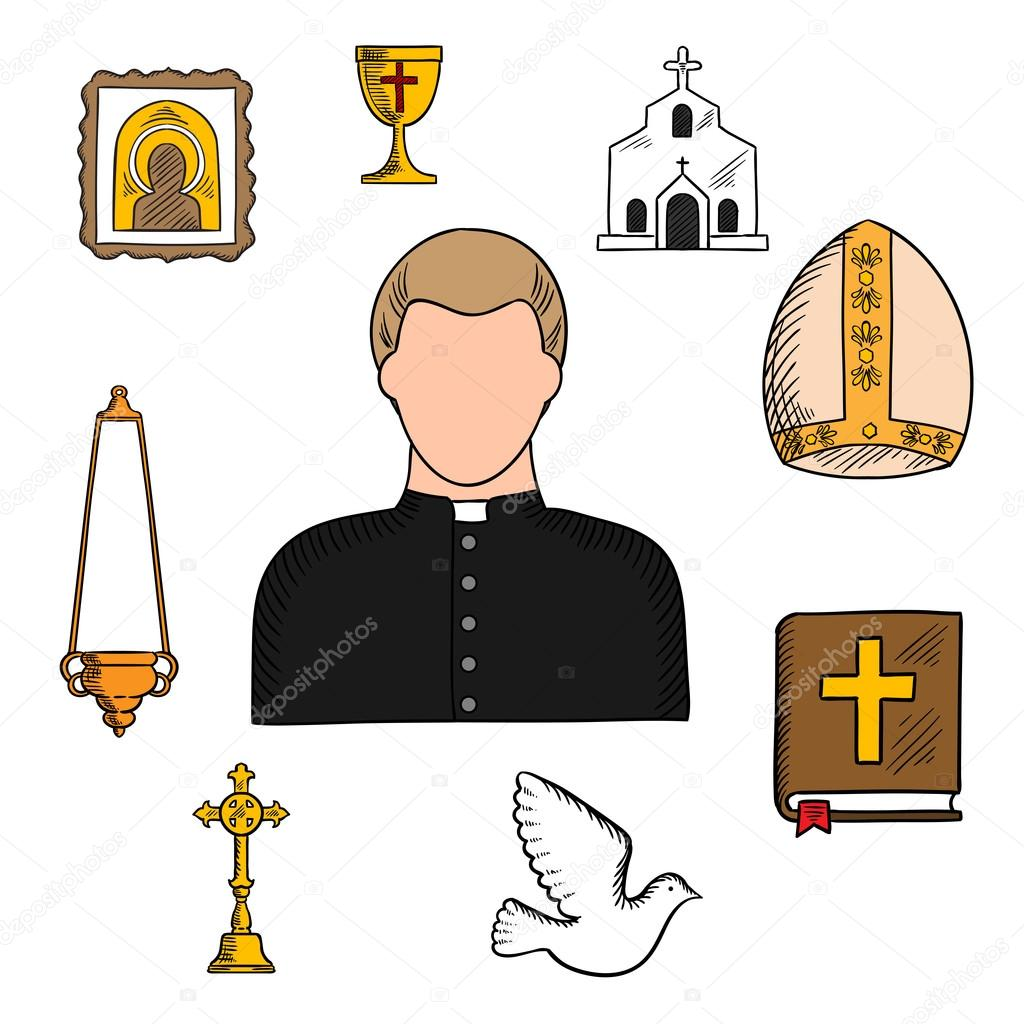 Priest profession with religious symbols stock vector seamartini priest in black robe and white collar with religious symbols such as church or temple building the bible and golden cross bowl and candelabra on chain buycottarizona Gallery
