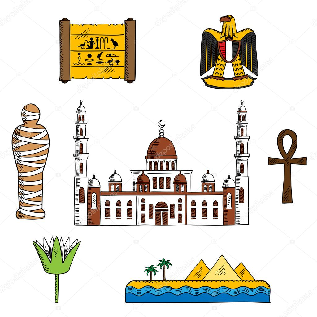 Icons and symbols of ancient egypt stock vector seamartini ancient and modern egypt symbols for travel design with pharaoh mummy and giza pyramids papyrus with hieroglyphics sacred lotus flower and symbol of life mightylinksfo
