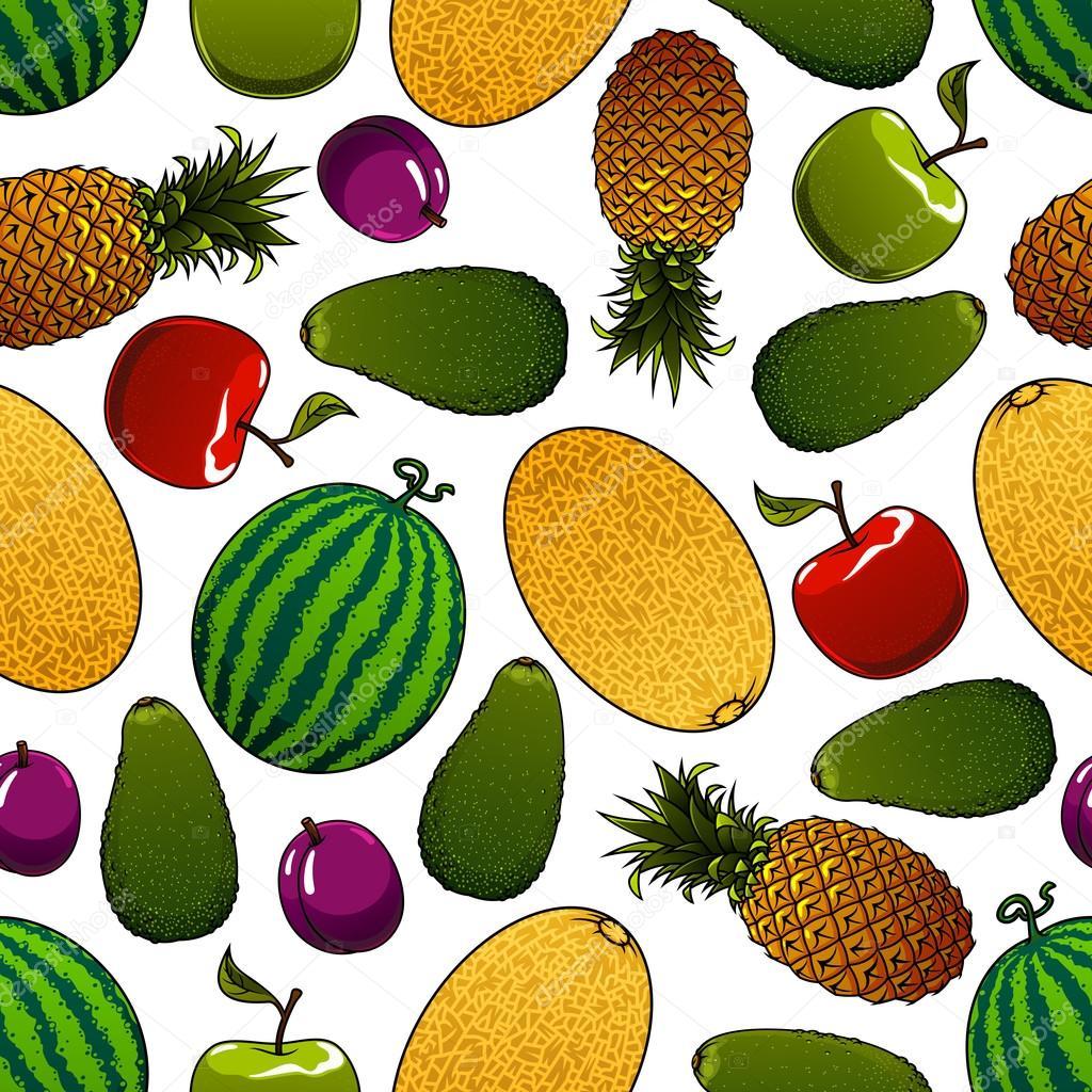ripe juicy fruits seamless pattern ストックベクター seamartini