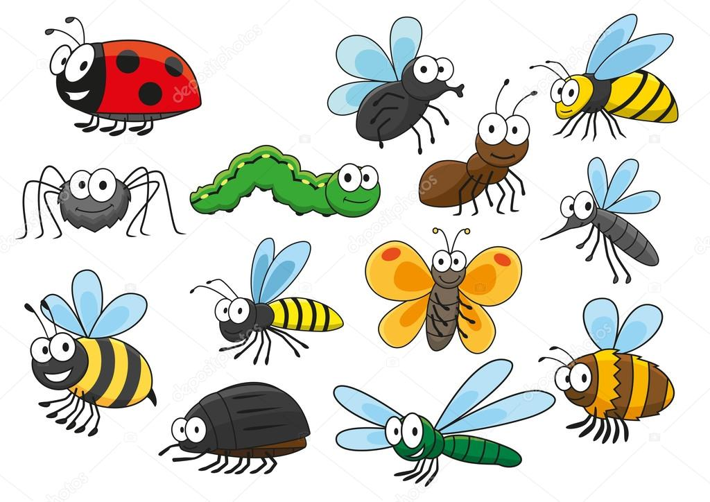 Colorful cartoon smiling insects characters — Stock Vector ...