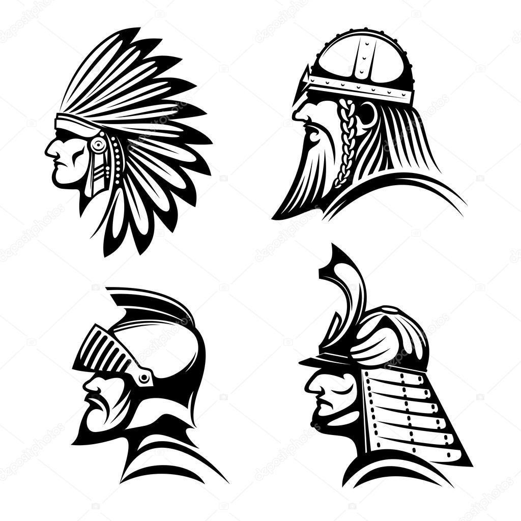 Depositphotos 106125784 stock illustration knight viking samurai and native jpg