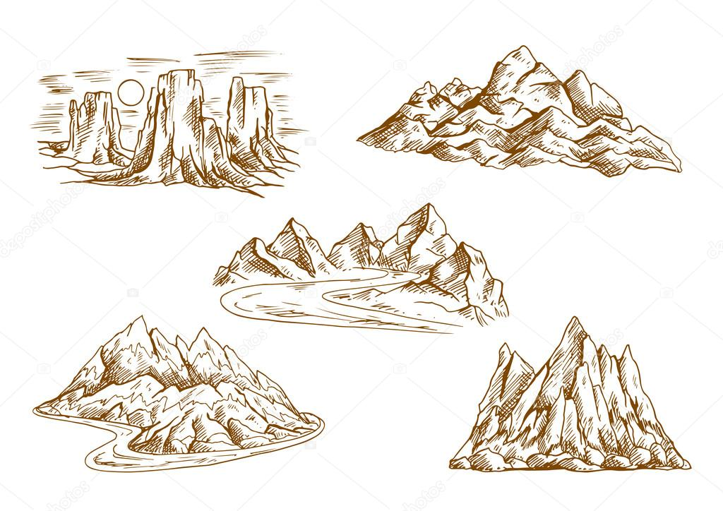 De iconos retro dibujo paisajes de montaña — Archivo Imágenes ...