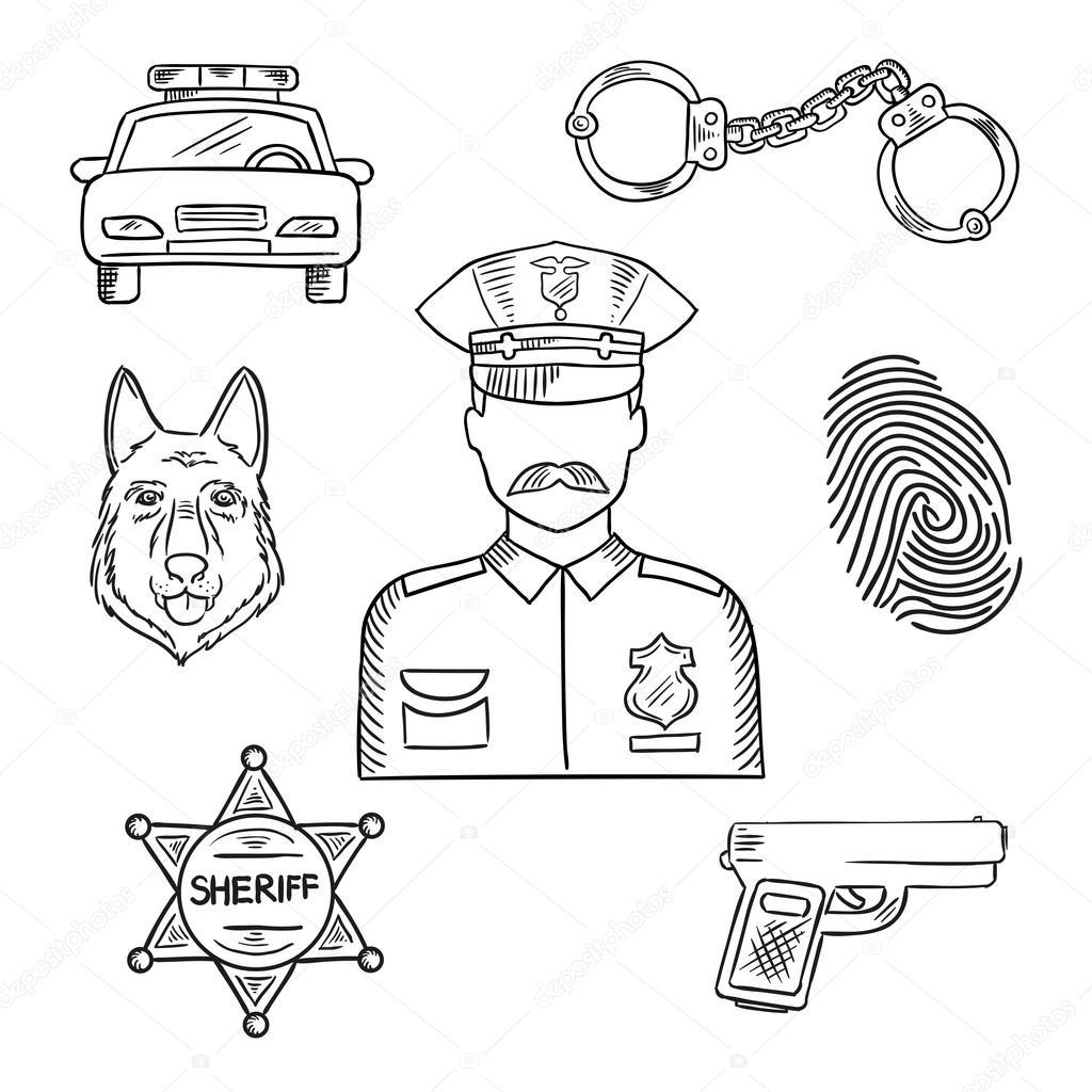 Icono de esbozo de profesión oficial de policía o policía — Archivo ...
