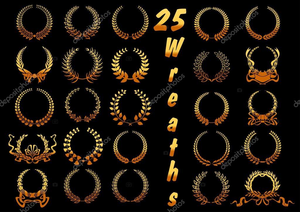 Heraldický zlatého vavřínu věnce ikony s stylizované starověké řecké  vítězové věnce 04c9256d75