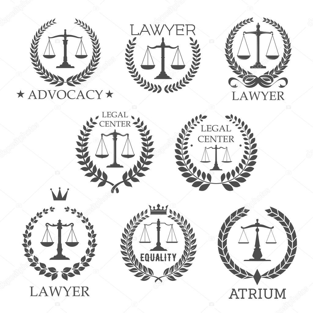 Lawyer And Law Office Icons With Scales Of Justice Stock Vector