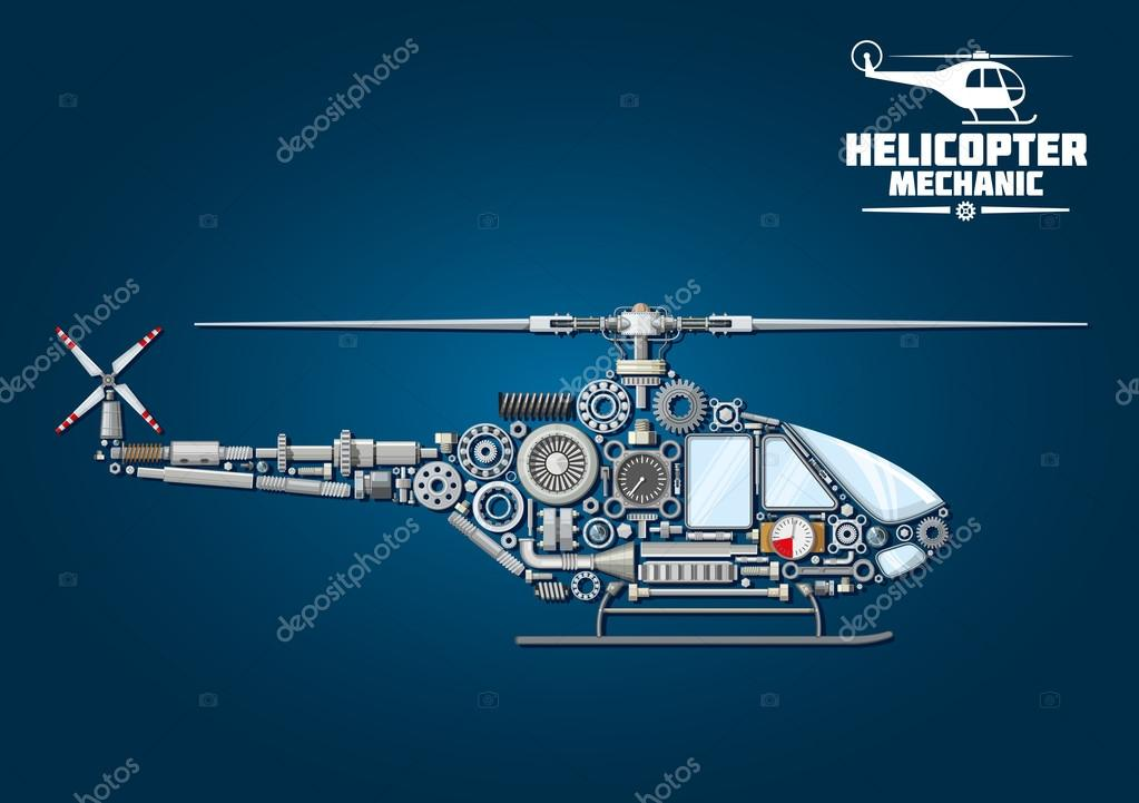 Silhouette Of Mechanical Detailed Helicopter Stockvector