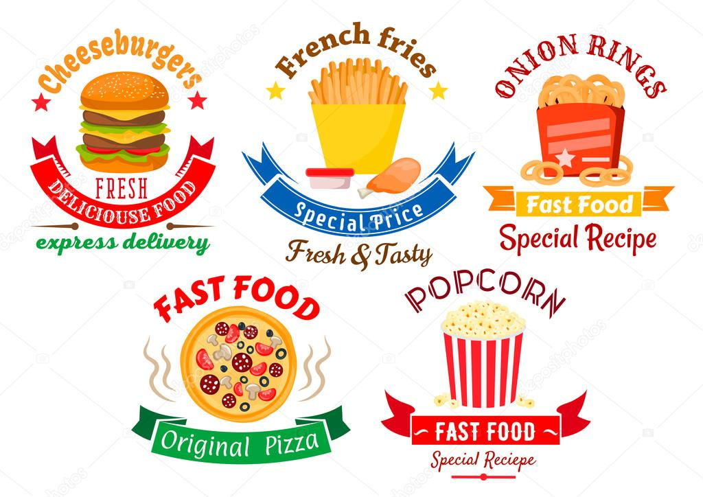 Takeaway Meal Symbols For Fast Food Design Stock Vector