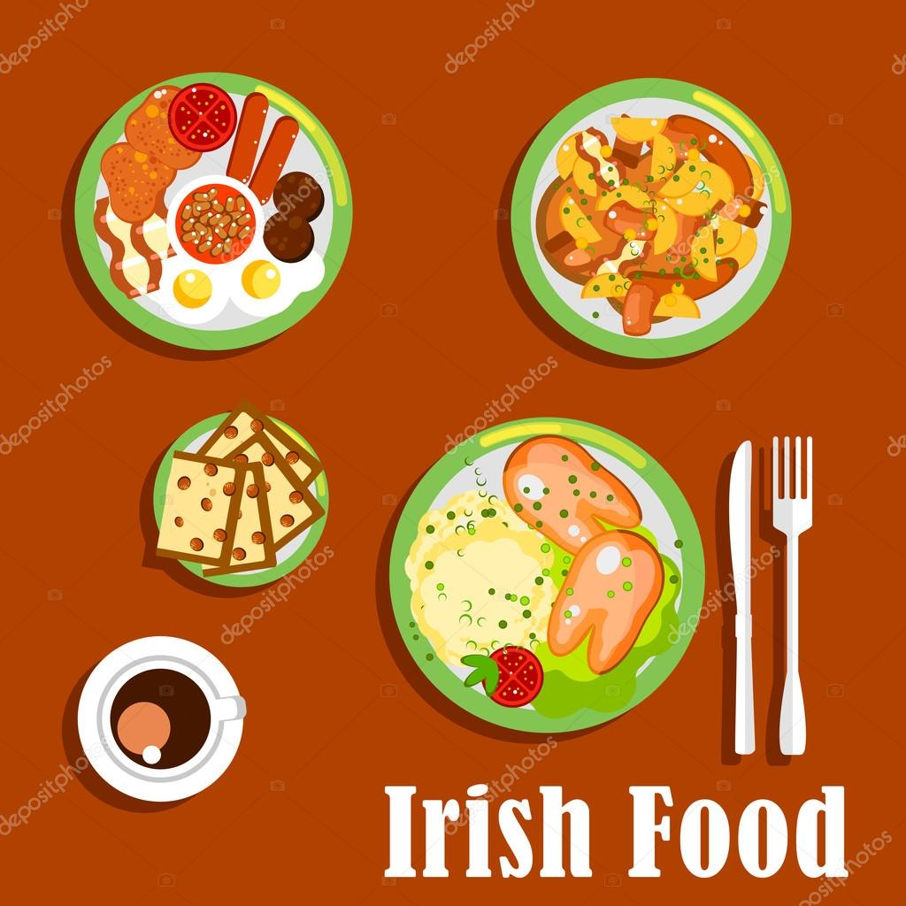 Traditional Irish Breakfast Icon With Fried Eggs And