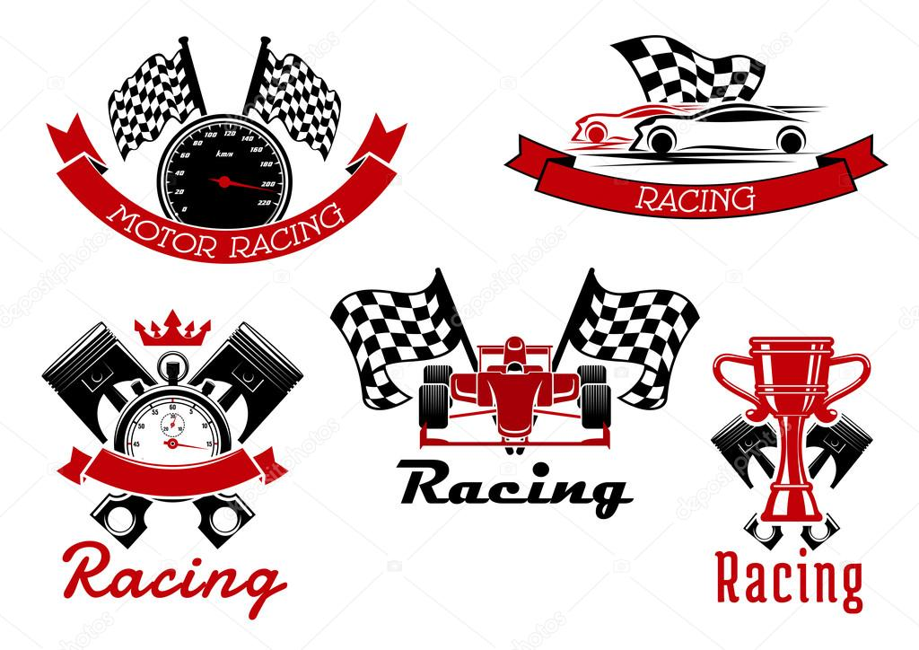 Auto Racing Sporting Symbols With Race Cars Stock Vector