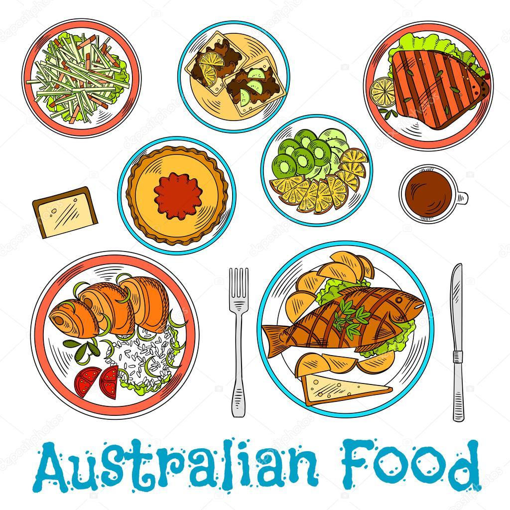 Authentic dishes of australian cuisine sketch for Authentic australian cuisine